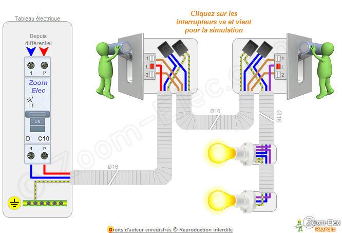 Montage cblage branchement dun va et vient comment brancher un va et vient - Branchement electrique interrupteur va et vient ...