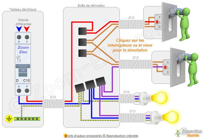 montage cblage branchement dun va et vient comment brancher un va et vient. Black Bedroom Furniture Sets. Home Design Ideas