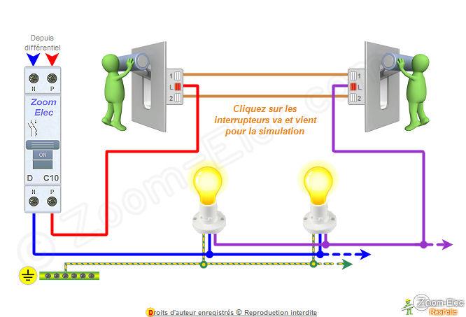 Sch ma va et vient schema lectrique interactif d un va et vient - Schema electrique interrupteur simple ...