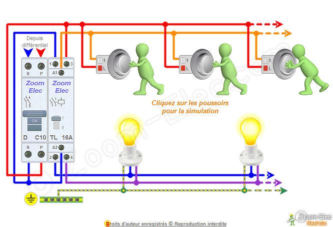 Schma tlrupteur bipolaire double ou 2 contacts et boutons poussoirs - Comment brancher un disjoncteur ...