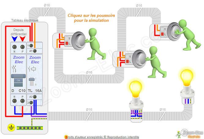 Montage c blage branchement d un t l rupteur et boutons poussoirs comment brancher un - Cablage bouton poussoir ...