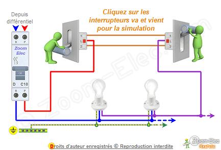 Schma va et vient schema lectrique interactif dun va et vient for Installer un va et vient avec 2 interrupteurs